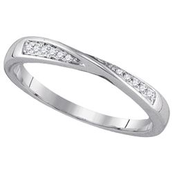 Womens Round Diamond Fashion Band Ring 1/20 Cttw 14kt White Gold - REF-12A9M