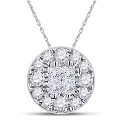 Womens Princess Diamond Fashion Cluster Pendant 1/4 Cttw 14kt White Gold - REF-16R9X