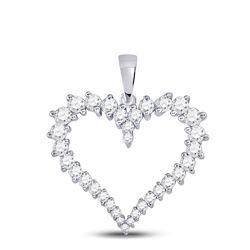 Womens Round Diamond Outline Heart Pendant 3/4 Cttw 14kt White Gold - REF-41Y5N