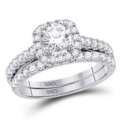 Round Diamond Bridal Wedding Ring Band Set 1-1/2 Cttw 14kt White Gold - REF-247Y9N