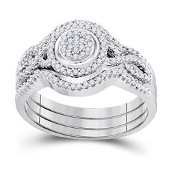 Round Diamond Bridal Wedding Ring Band Set 1/3 Cttw 10kt White Gold - REF-33A5M