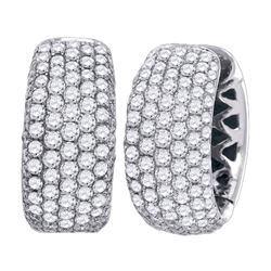 Womens Round Pave-set Diamond Five Row Hoop Earrings 3 Cttw 14kt White Gold - REF-239F5W