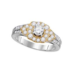 Round Diamond 2-tone Bridal Wedding Engagement Ring 1 Cttw 14kt White Gold - REF-101K5Y