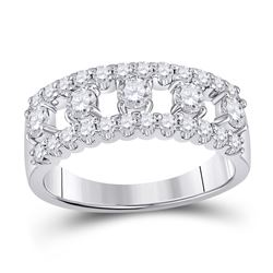 Womens Round Diamond Right Hand Three-Row Band Ring 1 Cttw 14kt White Gold - REF-69K9Y