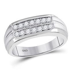 Mens Round Diamond Double Row Wedding Band Ring 1/2 Cttw 14kt White Gold - REF-48N5F