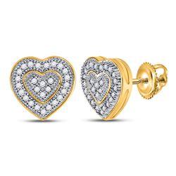 Womens Round Diamond Heart Cluster Earrings 1/6 Cttw 10kt Yellow Gold - REF-13W9K
