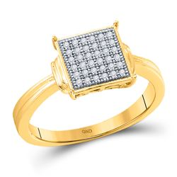 Womens Round Diamond Square Cluster Ring 1/10 Cttw 10kt Yellow Gold - REF-12Y5N