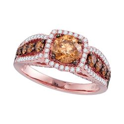 Round Brown Diamond Solitaire Bridal Wedding Engagement Ring 1-7/8 Cttw 14kt Rose Gold - REF-307N5F