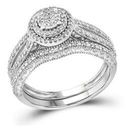 Round Diamond Cluster Bridal Wedding Ring Band Set 1/3 Cttw 10kt White Gold - REF-30A5M