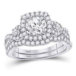 Round Diamond Halo Bridal Wedding Ring Band Set 1-3/4 Cttw 14kt White Gold - REF-288W5K