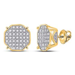Mens Round Diamond Octagon Cluster Earrings 1/4 Cttw 10kt Yellow Gold - REF-19M5H