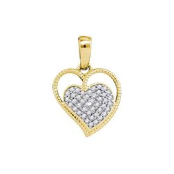 Womens Round Diamond Heart Milgrain Pendant 1/10 Cttw 10kt Yellow Gold - REF-8M5H