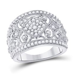 Womens Round Diamond Filigree Fashion Ring 3/4 Cttw 14kt White Gold - REF-95X9A
