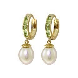 Genuine 9.3 ctw Peridot & Pearl Earrings 14KT Yellow Gold - REF-44Y4F