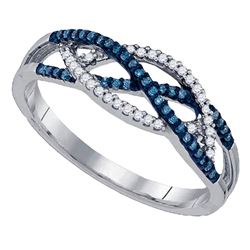 Womens Round Blue Color Enhanced Diamond Crossover Band Ring 1/5 Cttw 10kt White Gold - REF-18M9H