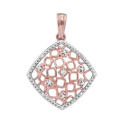 Womens Round Diamond Offset Square Cluster Pendant 1/20 Cttw 10kt Two-tone Gold - REF-8Y5N
