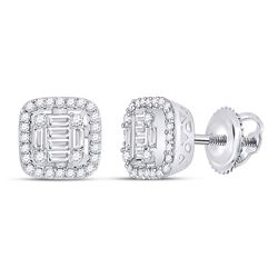 Womens Baguette Diamond Fashion Cushion Cluster Earrings 3/8 Cttw 14kt White Gold - REF-38R9X