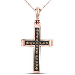 Womens Round Brown Diamond Cross Pendant 1/10 Cttw 14kt Rose Gold - REF-8W5K