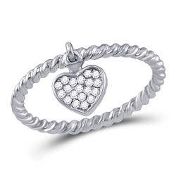Womens Round Diamond Heart Dangle Stackable Band Ring 1/10 Cttw 10kt White Gold - REF-18K9Y
