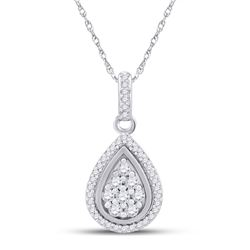 Womens Round Diamond Teardrop Pendant 1/4 Cttw 10kt White Gold - REF-16R9X