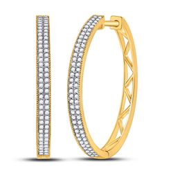 Womens Round Diamond Hoop Earrings 1/2 Cttw 10kt Yellow Gold - REF-32Y5N