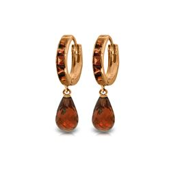 Genuine 5.35 ctw Garnet Earrings 14KT Rose Gold - REF-43M6T