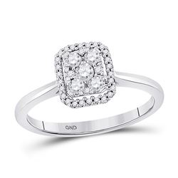 Womens Round Diamond Square Cluster Ring 1/3 Cttw 10kt White Gold - REF-23K5Y