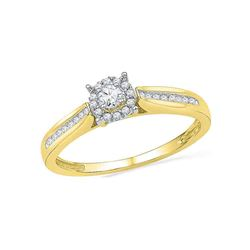 Round Diamond Solitaire Bridal Wedding Engagement Ring 1/6 Cttw 10kt Yellow Gold - REF-18X9A