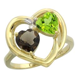 2.61 CTW Diamond, Quartz & Peridot Ring 14K Yellow Gold - REF-33R9H