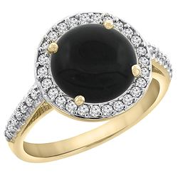 2.76 CTW Onyx & Diamond Ring 10K Yellow Gold - REF-54Y9V