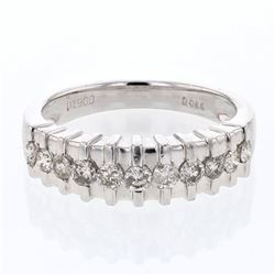 0.59 CTW Diamond Band Ring Platinum - REF-103F4N