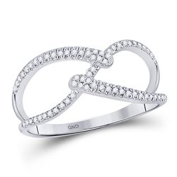 Womens Round Diamond Strand Band Ring 1/5 Cttw 10kt White Gold - REF-14N9F
