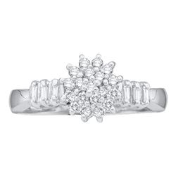 Womens Round Diamond Cluster Ring 1/4 Cttw 10kt White Gold - REF-14W9K