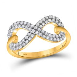 Womens Round Diamond Infinity Ring 1/3 Cttw 10kt Yellow Gold - REF-23N9F