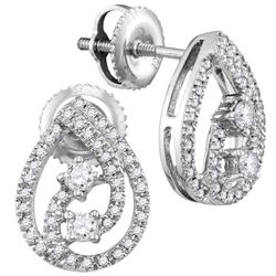 Womens Round Diamond Teardrop Earrings 1/4 Cttw 10kt White Gold - REF-19F9W