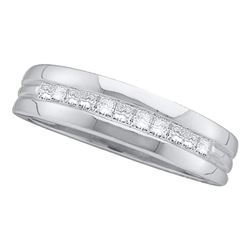 Mens Princess Diamond Wedding Band Ring 1 Cttw 14kt White Gold - REF-89M5H