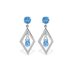 Genuine 2.4 ctw Blue Topaz Earrings 14KT White Gold - REF-39N3R