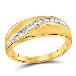 Mens Round Diamond Single Row Band Ring 1/8 Cttw 10kt Yellow Gold - REF-24X5A
