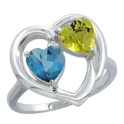 2.61 CTW Diamond, London Blue Topaz & Lemon Quartz Ring 14K White Gold - REF-33Y9V