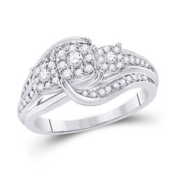 Round Diamond Cluster Bridal Wedding Engagement Ring 1/2 Cttw 10kt White Gold - REF-43Y9N