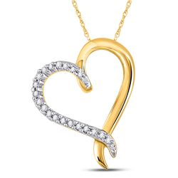 Womens Round Diamond Heart Pendant 1/10 Cttw 10kt Yellow Gold - REF-7F5W