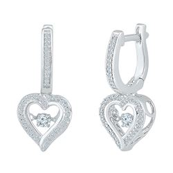 Womens Round Diamond Heart Dangle Hoop Earrings 1/4 Cttw 10kt White Gold - REF-27H9R