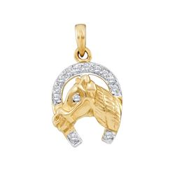 Womens Round Diamond Lucky Horseshoe Charm Pendant 1/10 Cttw 10kt Two-tone Gold - REF-10R5X