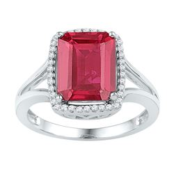Womens Emerald Lab-Created Ruby Solitaire Diamond Ring 4-5/8 Cttw 10kt White Gold - REF-25F5W