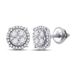 Womens Round Diamond Cluster Earrings 1/4 Cttw 10kt White Gold - REF-19F5W