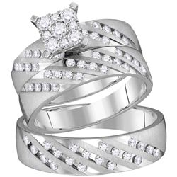 His Hers Round Diamond Square Matching Wedding Set 7/8 Cttw 14kt White Gold - REF-98F5W