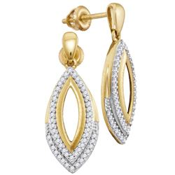 Womens Round Diamond Marquise Dangle Earrings 1/4 Cttw 10kt Yellow Gold - REF-20X5A