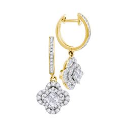 Womens Princess Diamond Cluster Dangle Earrings 1 Cttw 14kt Yellow Gold - REF-65A5M