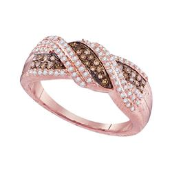 Womens Round Brown Diamond Crossover Band Ring 3/8 Cttw 10kt Rose Gold - REF-27X9A