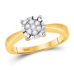 Womens Round Diamond Flower Cluster Ring 1/6 Cttw 10kt Yellow Gold - REF-20H9R